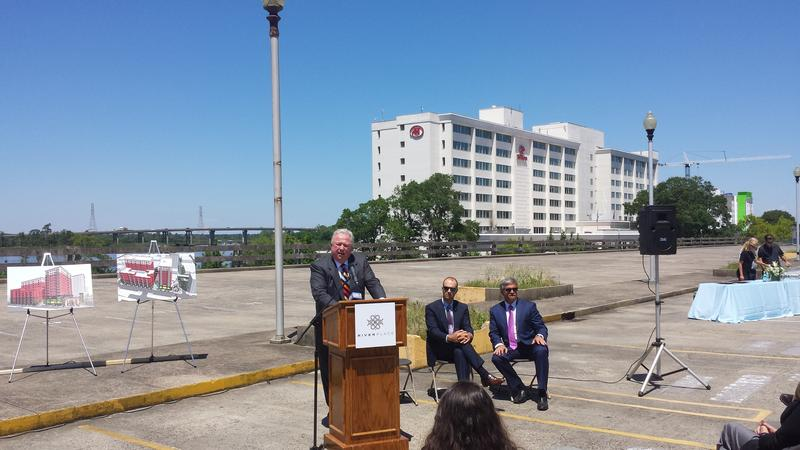 River Place developer Roger Perry discusses the project on the soon-to-be-demolished Water Street Parking Deck.