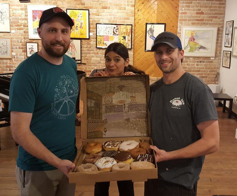 Matt Anlyan (left), Gina Gambony, and Allen Renquist with Donuts