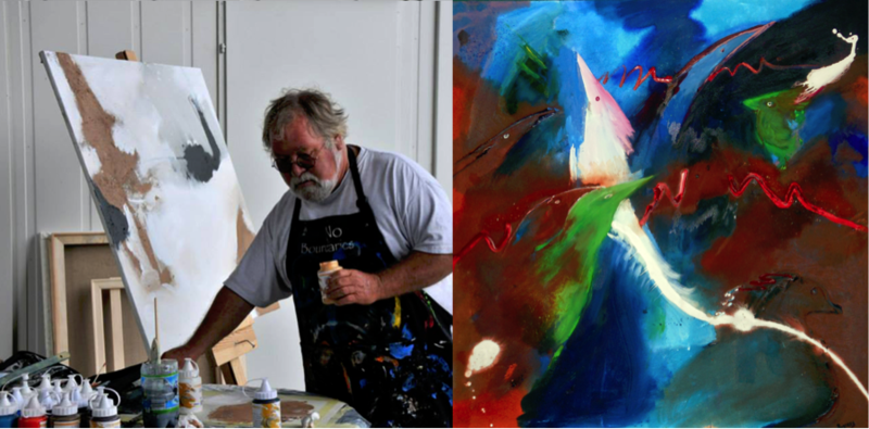"Artists Dick Roberts and his painting, ""The Very Thought of Birds"""
