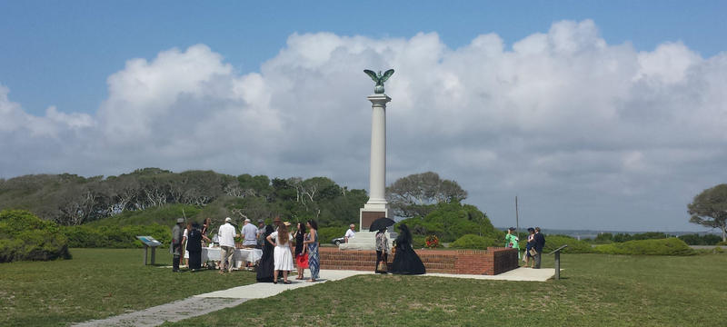 The new interpretive marker was dedicated April 29 at Fort Fisher State Historic Site as part of Confederate Memorial Day observances.
