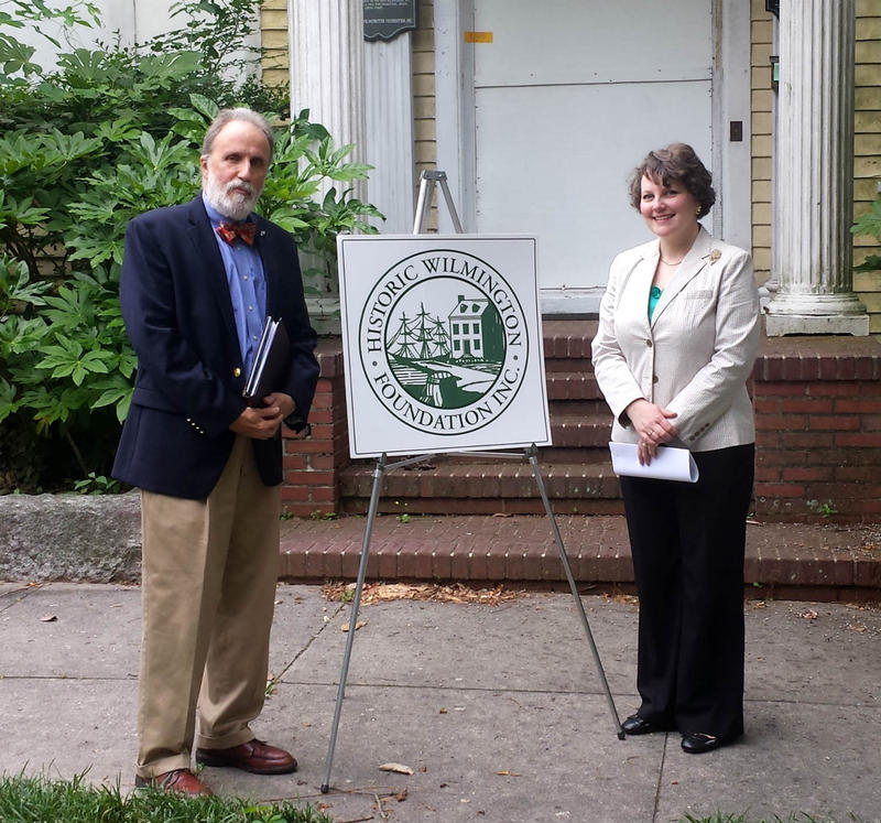 George Edwards and Ramona Bartos in front of the 110 Nun Street property.