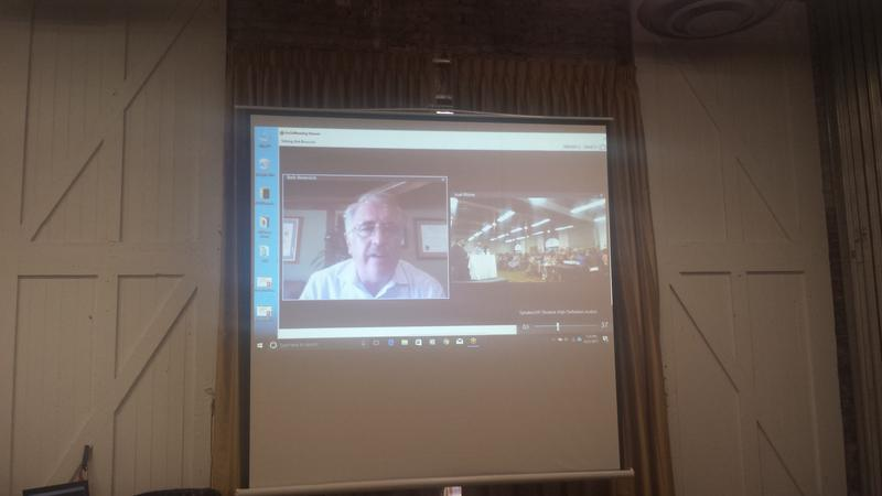 Water specialist Bob Bowcock joined the meeting via Skype from California.