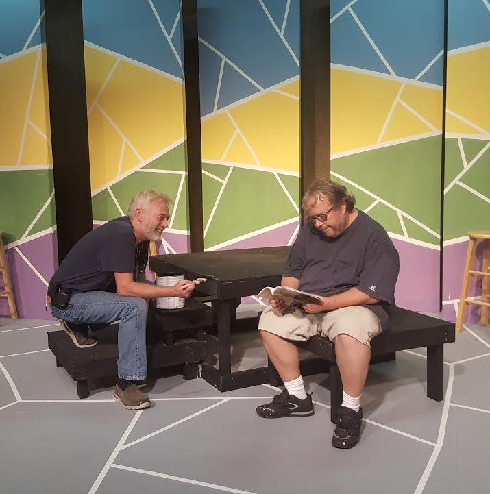 "Scott Davis (L) & Steve Vernon on the set of ""The Laramie Project"" at Cape Fear Playhouse"