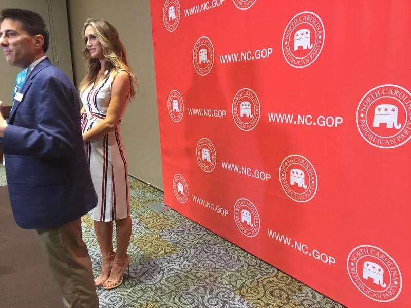 Lara Trump and Dallas Woodhouse at a press briefing following the luncheon at the 2017 NC GOP Convention.