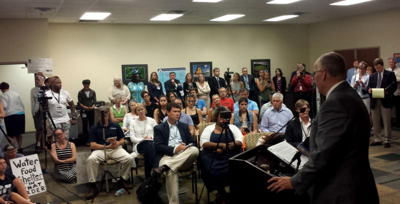 Health officials address the media and citizens after Thursday's meeting with Chemours in Wilmington.