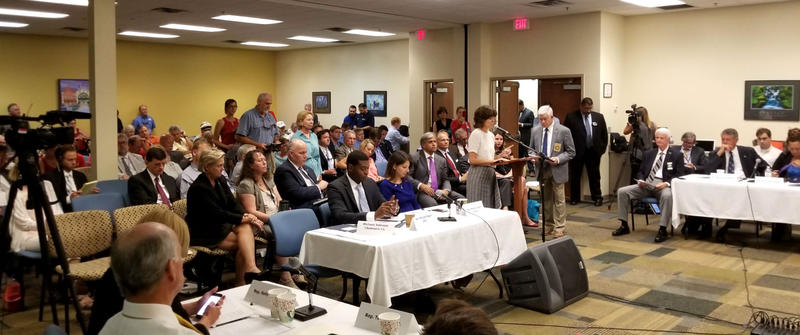 Dana Sargent (white shirt, standing) speaks during the public comment portion of the meeting.