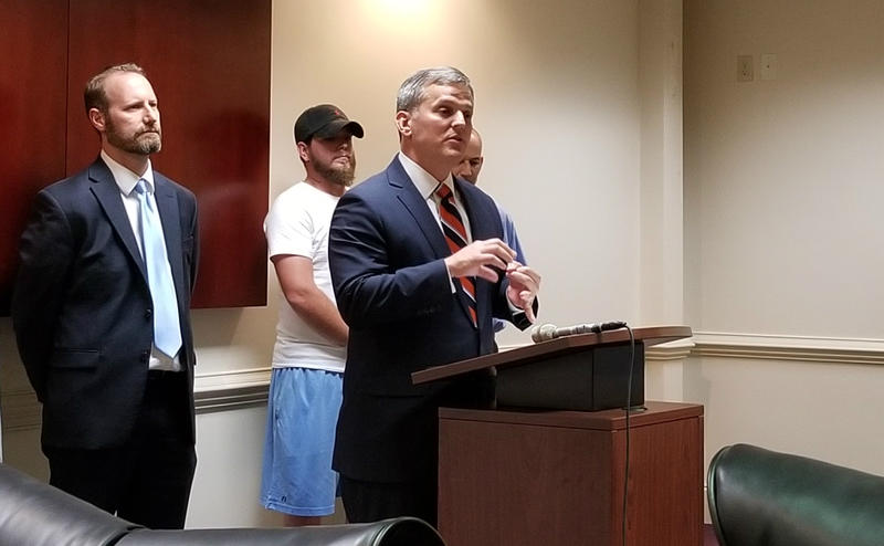 North Carolina Attorney General speaks about the latest battle against opioid addiction, during a visit to Coastal Horizons.