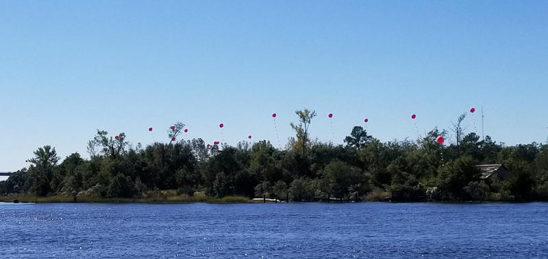 The big red balloons floating along the river show the heights of a series of buildings that a developer is proposing for that piece of property.