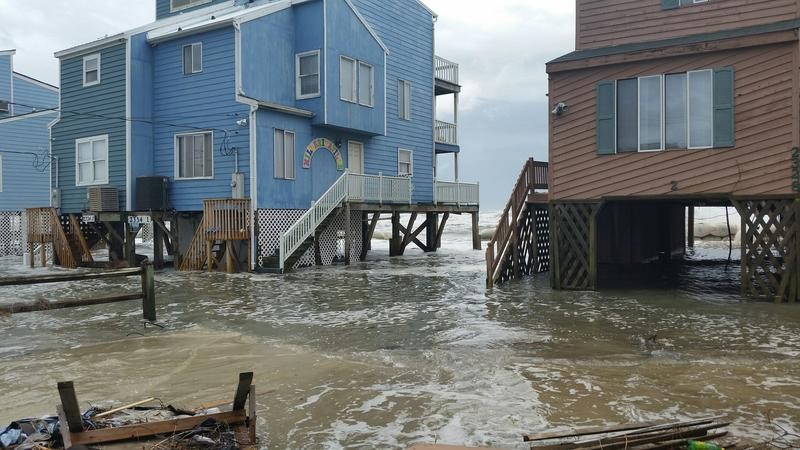 Coastal flooding at Outer Banks, North Carolina, on October 5, 2015