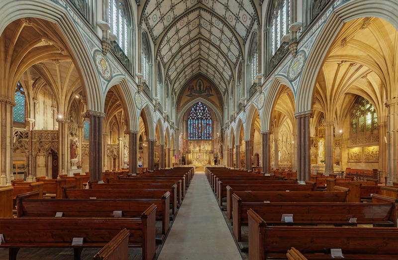 The nave in Immaculate Conception Church, Farm Street, London, England