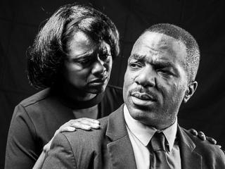 Karen Malina White as Camae (L) & Gilbert Glenn Brown as Dr. Martin Luther King, Jr. in The Mountaintop