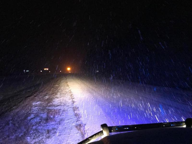 "Brunswick County Sheriff's Office posted this shot of snow falling on US 74/76 near Compass Pointe with the message, ""Again, please stay off the roads if at all possible."""