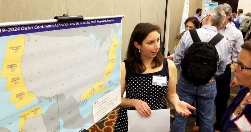 Allison Stork of the Bureau of Ocean Energy Management explains offshore oil exploration in Raleigh on Monday.