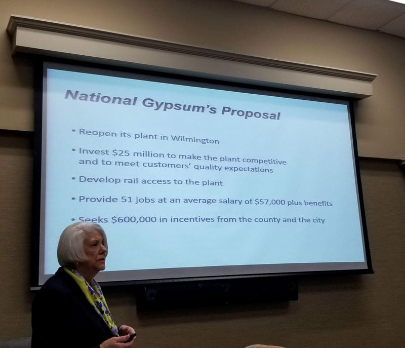 Nancy Spurlock of National Gypsum gives a presentation on their plans.