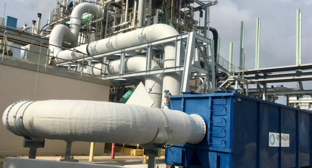 "A photo showing a carbon adsorption bed, which the company describes as ""state-of-the-art technology,"" designed to immediately provide a significant reduction in air emissions of GenX."