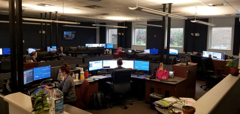 A portion of the 911 emergency center for New Hanover County.