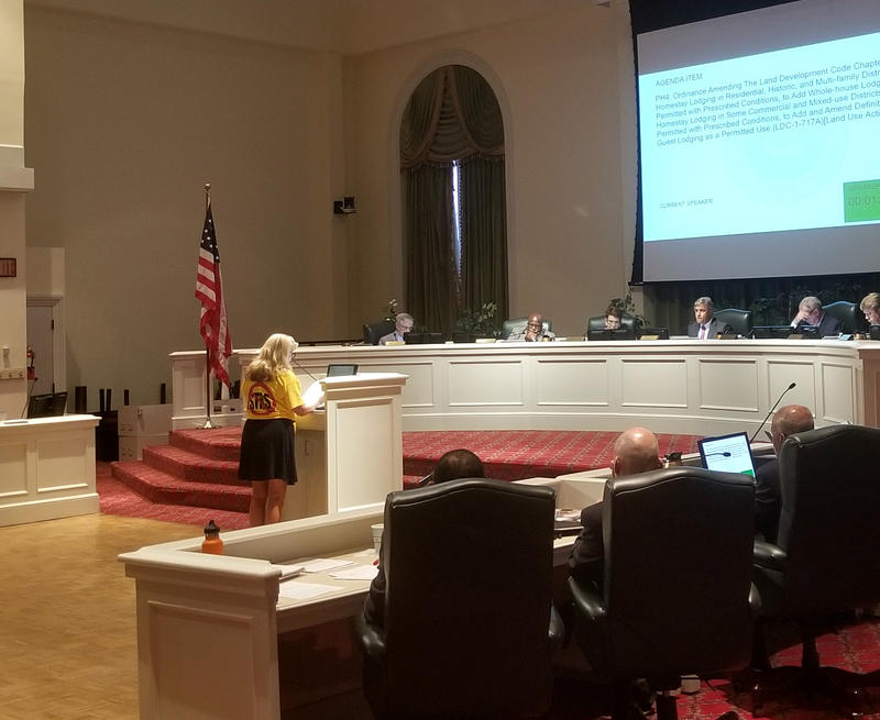 One of more than 30 residents who addressed city council speaks on Tuesday night.