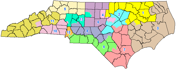 This congressional district plan was enacted on February 19th 2016, becoming Session Law 2016-1. It was drawn in response to a ruling by the United States District Court for the Middle District of North Carolina.