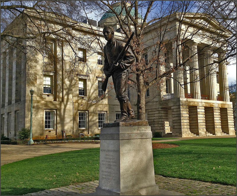 Statue of Henry Lawson Wyatt, Confedrate Soldier, State Capitol Grounds Raleigh (NC) March 2015