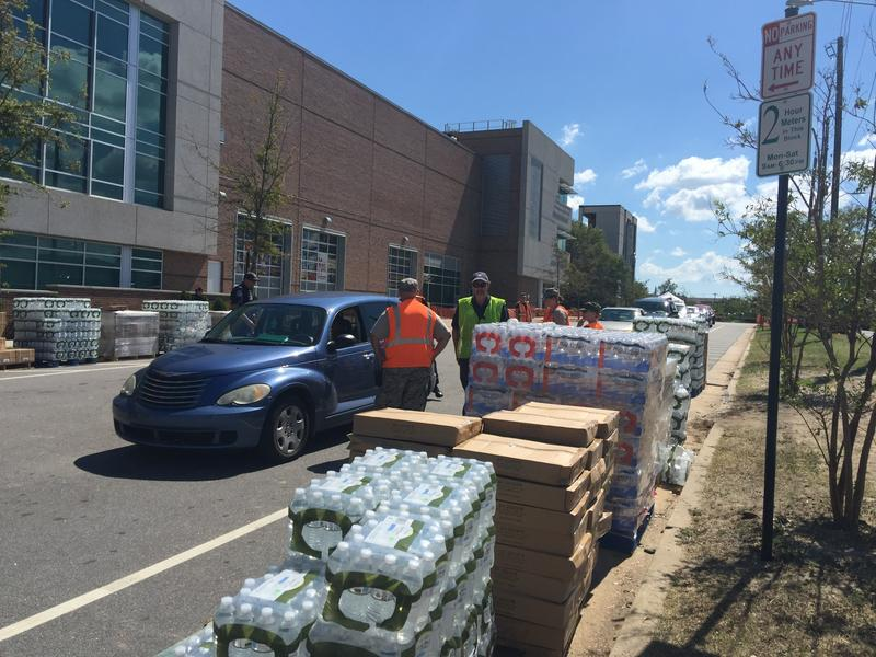 Point of Distribution for MREs, water, and tarps, at Cape Fear Community College