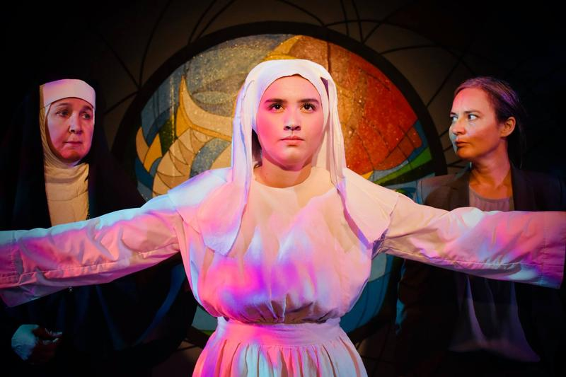 (L-R) Jemila Ericson as Mother Superior, Grace Carlyle Berry as Agnes, and Eleanor Stafford as Dr. Livingston