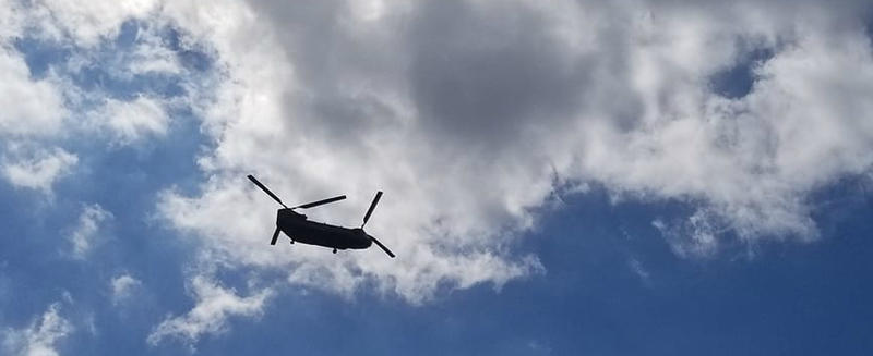 Helicopters drop off supplies in the Cape Fear region.