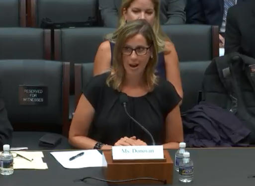Emily Donovan, co-founder of Clean Cape Fear, addresses the House Subcommittee on Environment in Washington on Thursday.