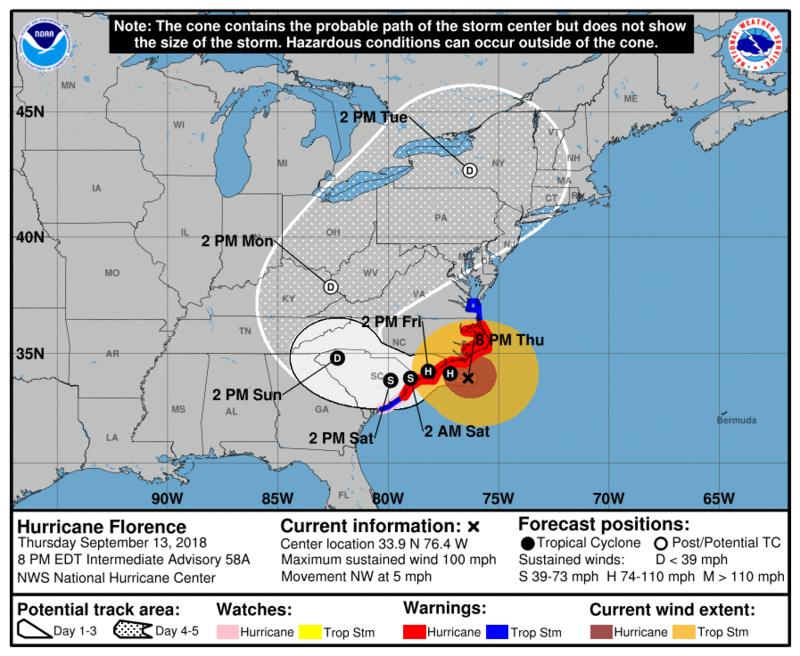 Hurricane Florence closes in on North Carolina.