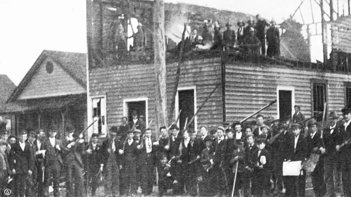 The burned down Daily Record in 1898, on S. 7th Street.