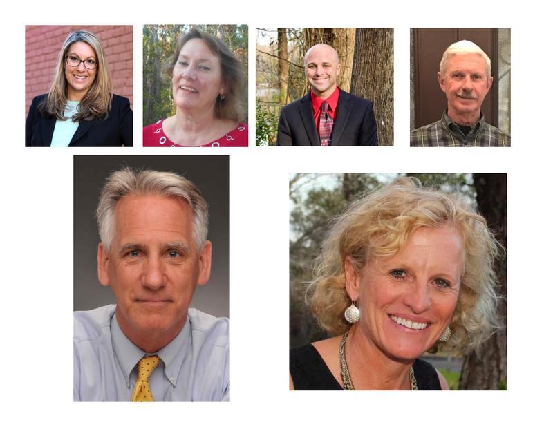 New Hanover County voters added three Democrats to the Board of Education:  (top l-r) Stefanie Adams, Judy Justice, Nelson Beaulieu and Republican newcomer Bill Rivenbark.  (bottom l-r) Rob Zapple (D) won a 2nd term; Julia Olson-Boseman (D) beat Watkins.