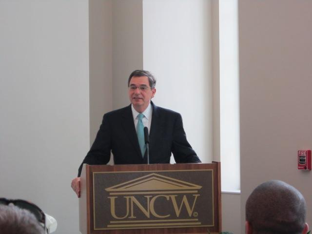 In the Cultural Arts building at UNCW, Chancellor Gary Miller announced that the university will now be housing the Wilmington event Art for the Masses.