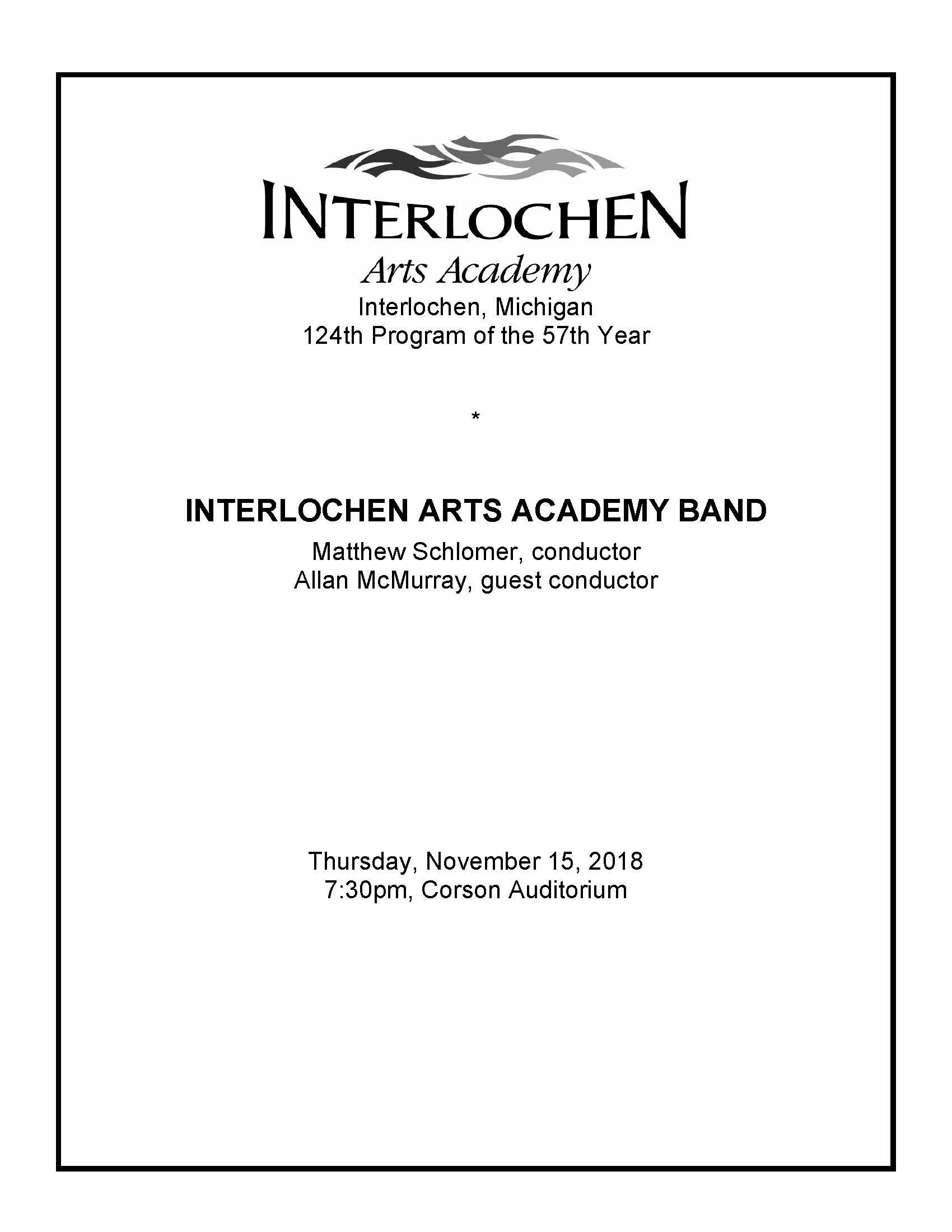 2018-11-15 IAA Band | Interlochen