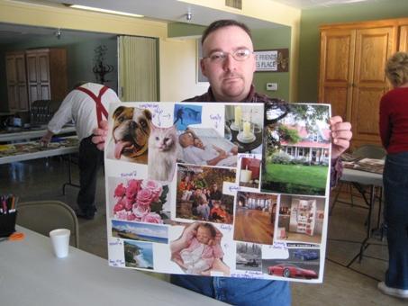 Ryan Volz displays his collage.