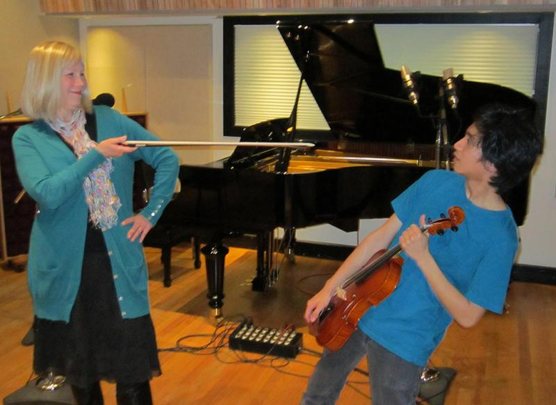 Renee Skerik, IAA Viola Instructor, with student Jeremy Laureta
