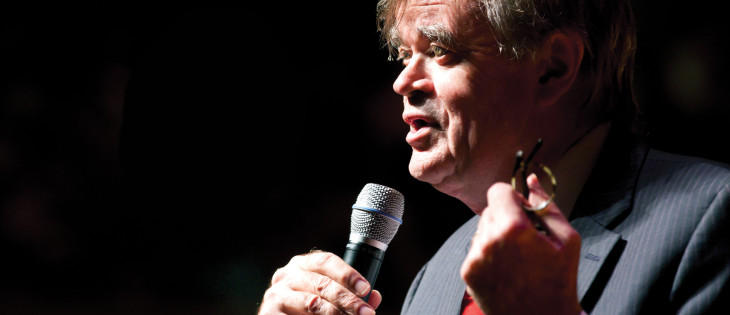 "Garrison Keillor will visit Interlochen during his farewell, ""America the Beautiful"" tour on July 28."