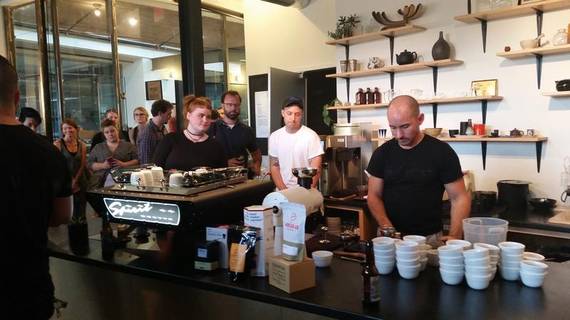 Chuck Korson prepares espresso for the first round of the Latte Art Throwdown.
