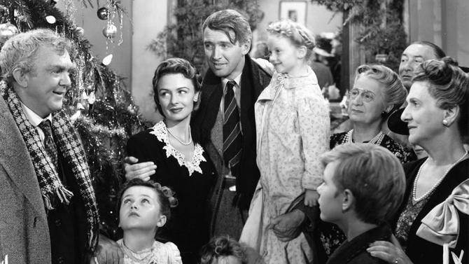 "Jimmy Stewart and Donna Reed star in Frank Capra's classic, ""It's a Wonderful Life."""
