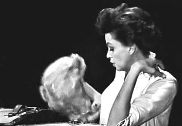 """The Judy Garland Show"" on CBS - Judy contemplates the ""Naughty Marietta"" wig"