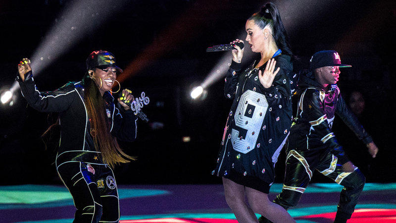 Missy Elliott (left) joined Katy Perry during the 2015 Super Bowl halftime show.