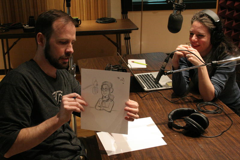 'American Dad!' creative designer Jim Feeley shows off his rough sketch IPR's Kate Botello.