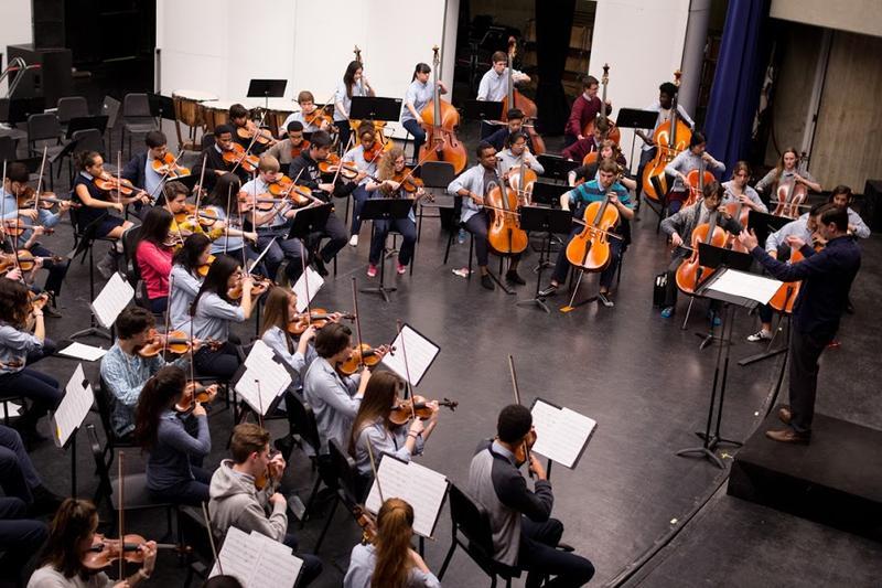 Interlochen Arts Academy Orchestra rehearsing Hannah Lash's Chaconnes