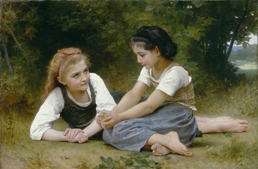 A reproduction of William-Adolphe Bouguereau's 'The Nut Gatherers' will be on display in Traverse City through October. The replica is part of the DIA's Inside|Out public art program.