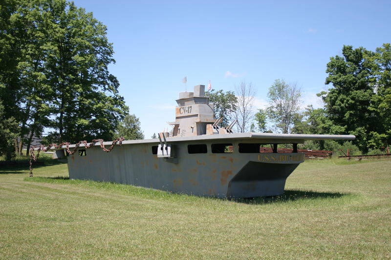 A replica of the USS Bunker Hill was created by Tom Moran for Onaway's Fourth of July parade in 2013. The replica now sits near Moran Iron Works just outside the city.