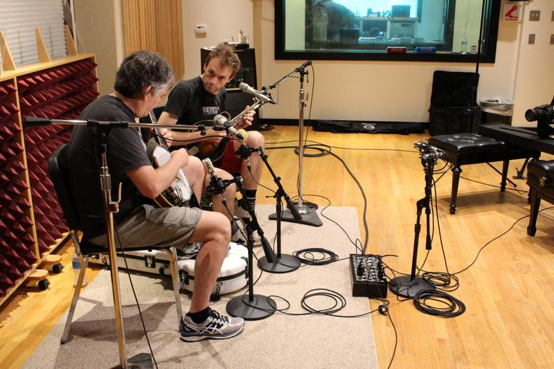 Chris Thile (right) and Bela Fleck perform in Studio A at Interlochen Public Radio.