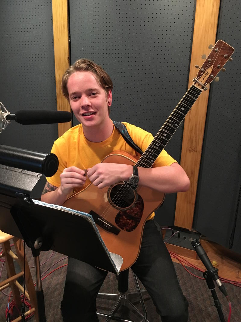 Billy Strings gets ready for an interview in a Nashville recording studio.