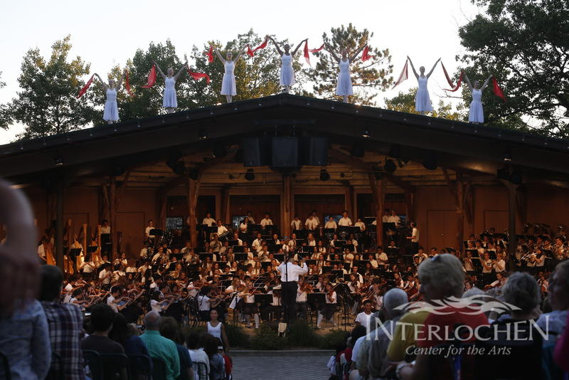 Dancers gather on the roof of the Interlochen Bowl as part of the traditional closer to the season, Les Preludes.