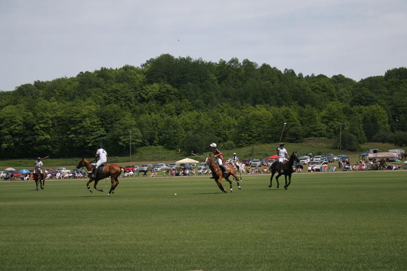 The Bliss Polo Club plays in front of a large crowd on a recent Sunday afternoon.