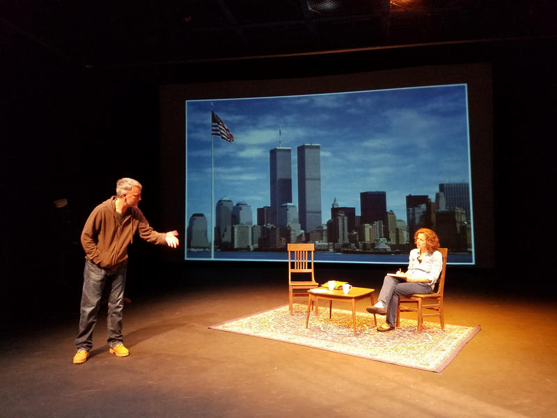 Bill Church and Laura Mittelstaedt in a recent rehearsal of 'The Guys.' The play tells the story of an NYC fire captain struggling to write eulogies for the men he lost in the attacks of 9/11.