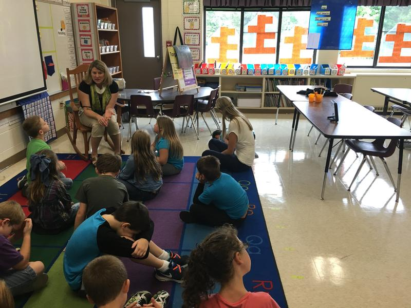 Students at Blair Elementary School get a lesson from Principal Kirsten Morgan.