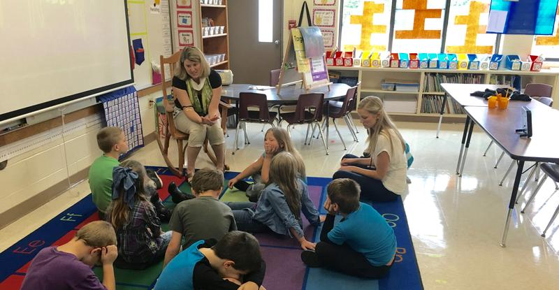 Kirsten Morgan, principal at Blair Elementary School, talks to a second grade class about a lesson called Habits of Mind